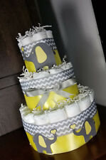 3 Tier Diaper Cake - Yellow Elephants with Yellow Silver Chevron with Hearts