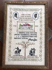 Antique Cross Stitch Sampler George Washington Memorial Circa 1932