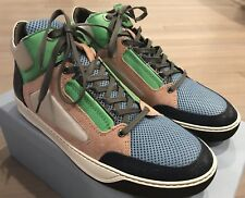 750$ Lanvin Leather and Nylon Multicolor High Tops Sneakers size US 10