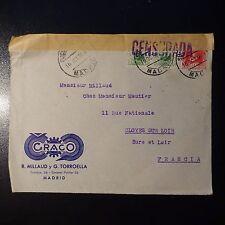 ESPAÑA LETRA CENSURA MILITAR CENSOR DE LA COVER CAD MADRID 1938 PARA CLOYES