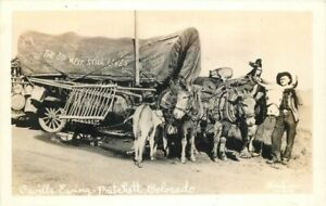 Christian Covered Wagon Pritchett Colorado 1940s RPPC Photo Postcard 21-1499