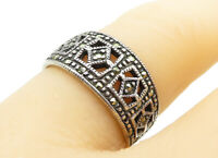 925 Sterling Silver - Vintage Marcasite Decorated Band Ring Sz 6 - R13030