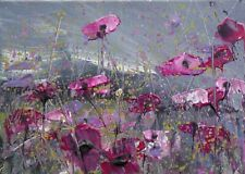 More details for semi abstract wild flower meadow / landscape art. original acrylic painting.