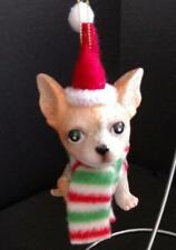 Tan Chihuahua in Striped Scarf & Santa Hat Dog Shaped Christmas Ornament Sparkly