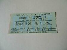 Brondby IF v Liverpool FC ticket stub 17/10/95 UEFA cup