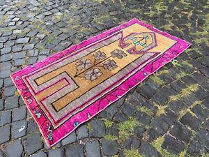 Bohemian rug, Handmade wool rug, Turkish vintage rug, Carpet | 2,5 x 4,7 ft