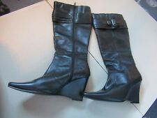 NEXT BLACK LEATHER WEDGE BOOTS UK 8 *