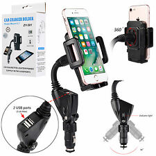 360° Adjustable Dual USB 2.1A Charger Car Mount Holder For GPS/Smart Cell Phones