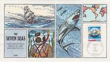 COLLINS HAND-PAINTED FDC FIRST DAY COVER -1988 'E' DOMESTIC ISSUE-THE SEVEN SEAS