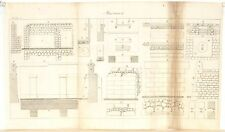 Stampa antica COSTRUZIONI MURATURA terrazze Maconnerie 9 1814 Old antique print