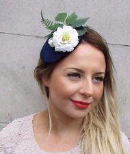 Navy Blue Green White Velvet Flower Leaf Fascinator Headpiece Hair Clip Vtg 2729