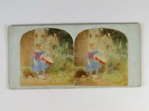 Girl Playing A Drum - c1850s Genre Hand Tinted Stereoview