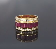 $7,500 LeVian 18K Yellow Gold Baguette Ruby Round Diamond Ring Band Size 7