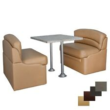 """RV 42"""" Toffee Dinette Booth Set Luna Imperial Dining Table And 2 Legs Seating"""
