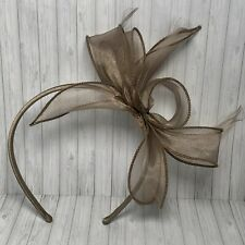 Natural colour fascination headband mink sheer ribbon bow & wispy feathers