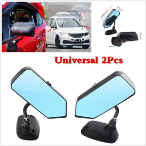 Car F1 Style Carbon Fiber Look Blue Mirror Aluminum Bracket Side View Mirrors X2
