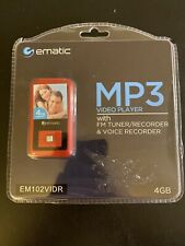Ematic MP3 Video Player with FM Tuner/Recorder & Voice Recorder 4GB NIP Red NEW