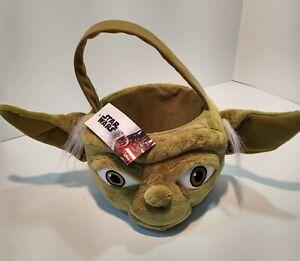 """NWT Disney Big YODA Halloween or Easter Basket Soft Green Plush  7"""" x 10"""""""