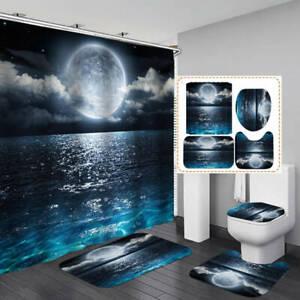 Sea Cloud Moon Shower Curtain Bath Mat Toilet Cover Rugs Bathroom Decor