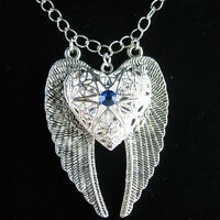 Silver Angel Wing Heart Blue Sapphire Picture Locket Pendant Statement Necklace