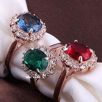 18K Rose Gold GP Emerald Green Swarovski Crystal Fashion Ring Elegant Jewellery