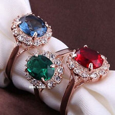 18K Rose Gold GP Emerald Green Simulated Diamond Wedding Band Ring Elegant Gift