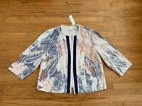 Chicos Womens sz 2 Large Paisley Linen Watercolor Print Textured Fringe Jacket