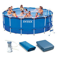 "Intex 15' x 48"" Metal Frame Above Ground Swimming Pool Set w/ 1000 GPH Pump"