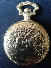 POCKET WATCH NO. 48 GOLD COLOUR HUNTER, HORSE RACING.IDEAL GIFT/COLLECTABLE