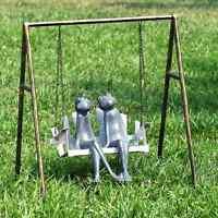 Frog Friends On Porch Swing Garden Sculpture Swinging Frogs Metal Outdoor Statue