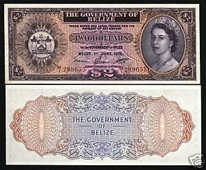 BELIZE 20 DOLLARS P37 c 1976 YOUNG QUEEN ARMS RARE CARIBBEAN MONEY BANK NOTE