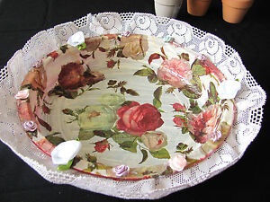 HANDMADE GLASS DECORATIVE BOWL ACRYL MULTI COLORS LACE AND SILK  FLOWERS GIFT