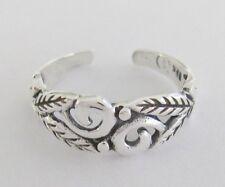 Sterling Silver floral spiral swirl adjustable toe ring