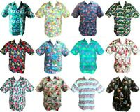Men's Short Sleeve Casual Shirt Tropical Hawaiian Shirt Beach Top 100% Cotton