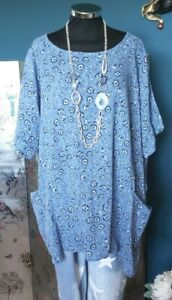 MADE IN ITALY lagenlook tunic  OSFA Size 14 16 18 20 22 24 26 XXL  PLUS *NEW*