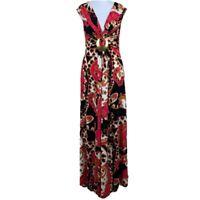 PHASE EIGHT Ladies MAXI DRESS Pink Black UK Size 8 Womens Geometric 80s S1