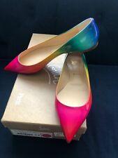 NIB Christian Louboutin BALLALLA Rainbow Patent Flat Ballet Shoes Sz 37.5