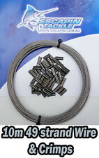 2mm 296kg Fishing Wire + Crimps. 10m Length. Shark wire, 49 Strand. Quality