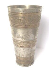 Afghan Becher Antik Sammler Messing Gold Silber Vase Gravur Handarbeit Brass Cup