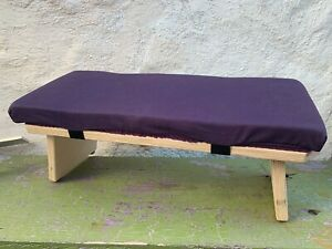 Hugger Mugger Folding Meditation Bench Purple Cotton Natural Wood Hand Made