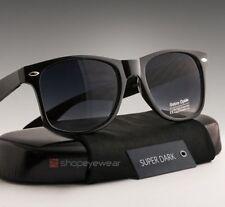 Super Dark Sunglasses Men Classic Black Lens Plastic Square