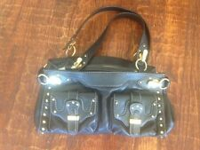 MICHAEL KORS * Large BLACK LEATHER Gold Hardware ORGANIZER handbag satchel * EUC