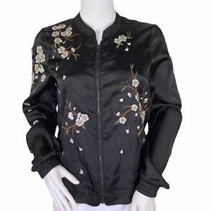 Daya By Zendaya Black Satin Cherry Blossom Floral Zip Front Lightweight Jacket S