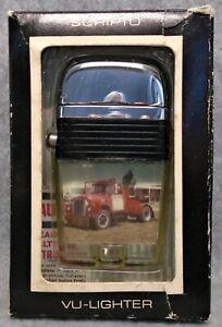 Vintage Scripto Vu Black Band National Trailer Convoy advertising lighter IN BOX