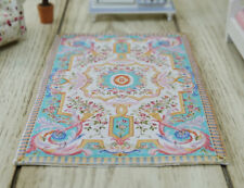 1:12 Beautiful Blue-Green Miniature French Aubusson Design Dollhouse Rug