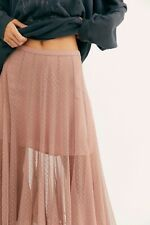 Free People Molly Smiles Godet Lace Tulle Skirt Dusty Pink XXS UK 4 BNWT £128