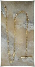 T- Bar Key 18K Solid Gold 1840's Rare French Antique Fob Pocket Watch Chain &