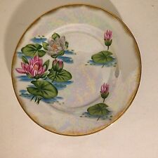 "Vintage Iridescent Plate Collector July Water Lily Gold Rim 7.5"" Round"