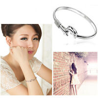 New Women Jewelry Solid  Silver Plated  Dolphin Bangle Bracelet Gift New Style