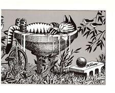 Cat in Bird Bath Floating Kliban Cat Print Black White Vintage